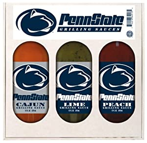 Penn State Nittany Lions Ncaa Grilling Gift Set 12oz Cajun 12oz Lime 12oz Peach by Hot Sauce Harrys