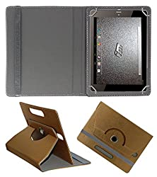 Acm Designer Rotating 360° Leather Flip Case For Micromax Canvas Tab P666 Tablet Stand Premium Cover Golden