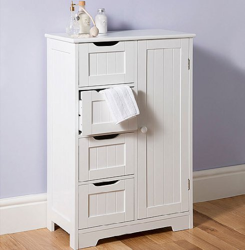 Great Ideas White Wooden Cupboard With Four Drawers / Panelled Effect / Ideal For Bedroom Bathroom Lounge
