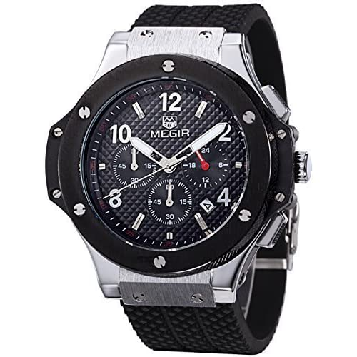 VOEONS Men's Silicone Sport Wrist Watch With Chronograph
