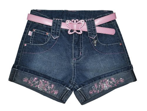 Girl's jeans short with applications and belt