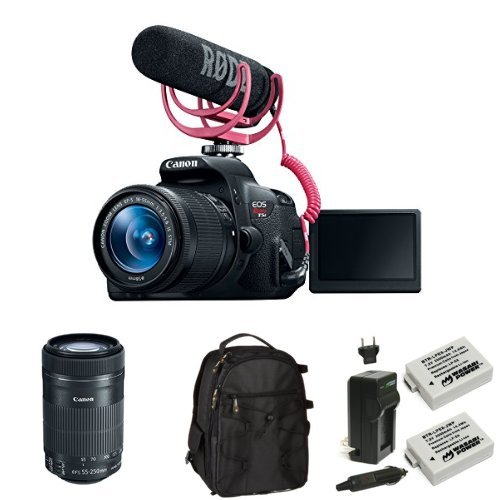 Canon EOS Rebel T5i Video Creator Kit with 18-55mm and 55-250mm Lenses, Rode VIDEOMIC GO and Sandisk 32GB SD Card Class 10 + Memory Card, Bag and Battery