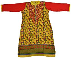 Apsara Women's Georgette Regular Fit Kurta (Yellow, XL)