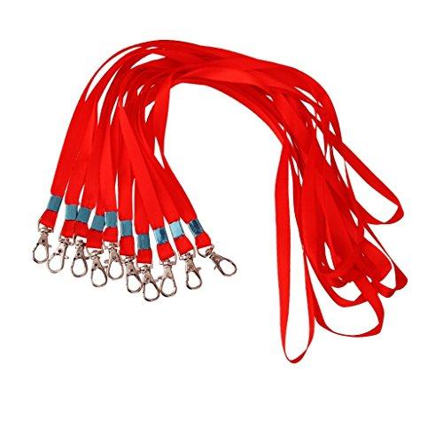 10x Portabadge Lanyard Laccio da Collo Scheda ID Cordino - 6 Colori - Rosso