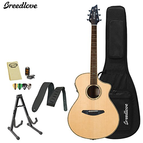 Breedlove Stage Concert Acoustic Electric Guitar With Chromacast Strap, Stand, Picks, Tuner, Godpsmusic Polish Cloth, And Breedlove Deluxe Foam Shell Case
