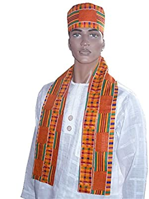 Dupsie's African Kente Print Hat and Sash/Scarf