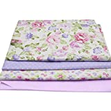 Sinwo 4Pcs Floral Plaid Fabric Cotton For Sewing Patchwork Wallet Purse Doll Bed Fabric 50 cm X 40 cm (E)