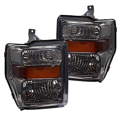 Smoke Lens Amber Driving Headlights Pair For Ford F250 F350 F450 F550 Super Duty Truck (F350 Smoked Headlights compare prices)