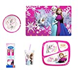 Zak! Frozen Kitchenware Set - 1 Placemat, 1 Plate, 1 Bowl, Silverware Set, 1 Tumbler Glass