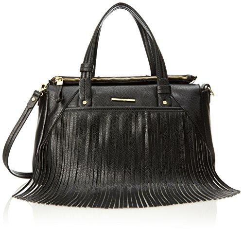 Nine West Saddle Up Satchel Top Handle Bag, Black/Black, One Size