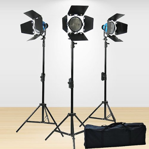 ePhoto FL100R3 2400-Watt Tungsten Continuous Video Photo Studio Focusable Dimmable Barndoor Lighting Light Kit (Black)