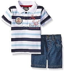 Boys Rock Baby 2 Pc Short Set Stripe Polo, Blue, 24 Months