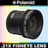 Polaroid Studio Series .21x Super Fisheye Lens With Macro Attachment, Includes Lens Pouch and Cap Covers For The Samsung NX-5, NX-10, NX-100, NX-200, NX20, NX210, NX300, NX1000, NX1100 Digital Cameras Which Has The 20-50mm Lens