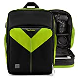 VanGoddy Sparta LIME GREEN BLACK Compact Backpack DSLR Camera & Tablet Case Bag for Nikon D810a D7200 D5300 D5200 D5100 D90 D750 D3300 D3200 D3100 P610 P990