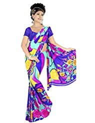 Blue Party Wear Saree Printed Designer Bollywood Faux Georgette Sari