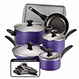 Farberware Dishwasher Safe Nonstick 15 Piece Cookware Set, Purple