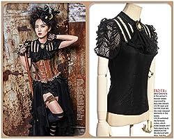 Steampunk Retro Punk Brocade Gothic Emo Womens Clothing Shopping Tee Shirt Tops Pirate Costume