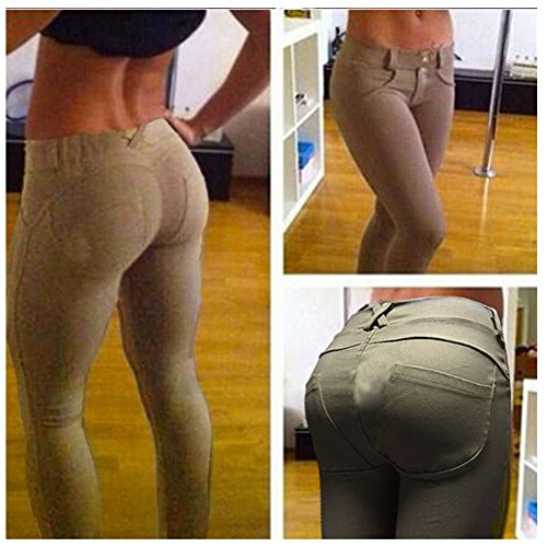 Fashionanna 2015 Autumn Winter Fashion Women's Skinny Leggings Gothic Fitness Stretchy Jeggings Sexy Female Slim Feminino Trousers Pants (S, Khaki)