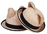 【ノーブランド品】 かわいい お出かけ用 麦わら 帽子 子供 ねこみみ 男の子 女の子 52cm <CX-101>