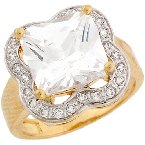 10K Two Toned Gold White 4.77Ct Cz Square Nice Ladies Engagement Ring