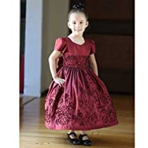 Angels Garment Little Girls 5 Burgundy Embroidered Christmas Dress