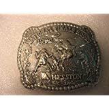 1996 Hesston Adult Rodeo Buckle -- National Finals Rodeo -- Bull & Rodeo Clowns -- NEW in Original Packaging