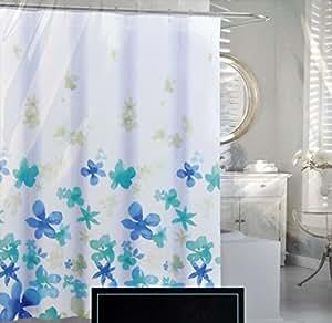 cynthia rowley blue floating flower fabric shower curtain light dark blue floral. Black Bedroom Furniture Sets. Home Design Ideas