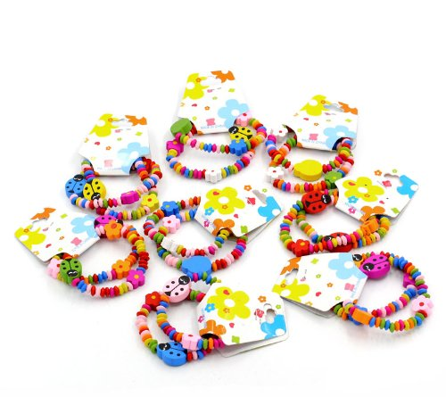 CKB Ltd ® 24x Mixed Wholesale Kids Childrens Wood Elastic Bracelets Ladybug Bead Elastic Bracelets Mixed Colourful 18cm