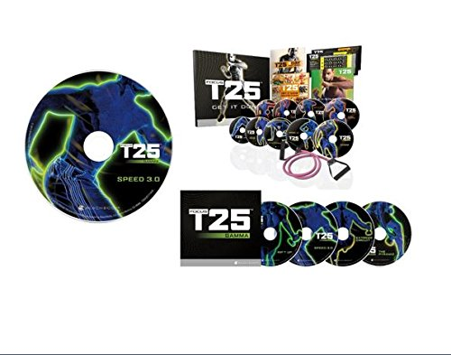 Best Price T25 FOCUS DVD Deluxe Kit (Alpha, Beta, Gamma, Speed 2.0) Shaun T Workout Complete Fitness Program Including Gamma and Core Speed 2.0 DVD Set, 16 DVDs + Resistance Band