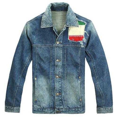 (ハイドロゲン)HYDROGEN 長袖 メンズ アウター デニム ジャケット タメージ スカル 並行輸入品 (M)