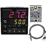 Inkbird Dual Digital PID Temperature Controller 2 Omron Relay Thermostat 110-240V ITC-100VH + 40A SSR + K Sensor