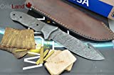 ColdLand Damascus Knife Kit   Premium Quality Custom Handmade Damascus Steel Full Tang Blank Blade with Damascus Bolster Attached, Brass Pins, Brass Spacers, Leather Sheath, Ram and Exotic Wood Scales for Knife Making Supplies ZK04A