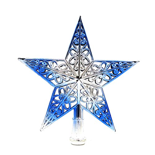 Stereo hollow Christmas tree top star quality Christmas tree star Christmas ornament gift , 4pcs , blue