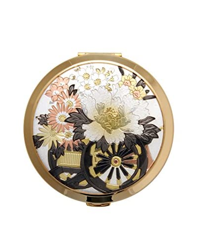Dynasty Gallery Chokin Art Flower Cart Compact with Mirror, Gold