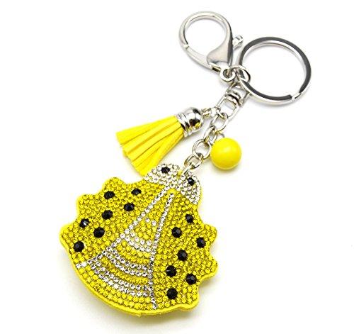 PT982E-Porta-chiavi, gioiello da borsetta a forma di coccinella, in feltro, misura XXL, con Strass, colore: giallo/argento-Mode fantasia