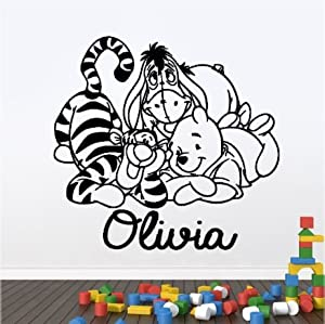 Personalised winnie the pooh and friends children 39 s for Baby pooh and friends wall mural