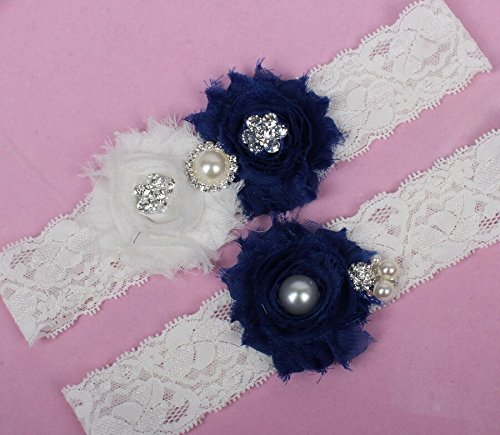 Sunshinesmile Lace Wedding Garter Blue Chiffon Flower Vintage Toss Garter