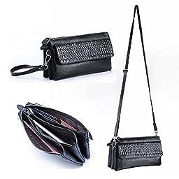 Gottowin Women\'s Leather Purse Wallet Clutch Handbag Cross-body Bag Organizer w/ Wrist Strap +Card Holder (9-Inch,fit iPhone 6 Plus, Black)