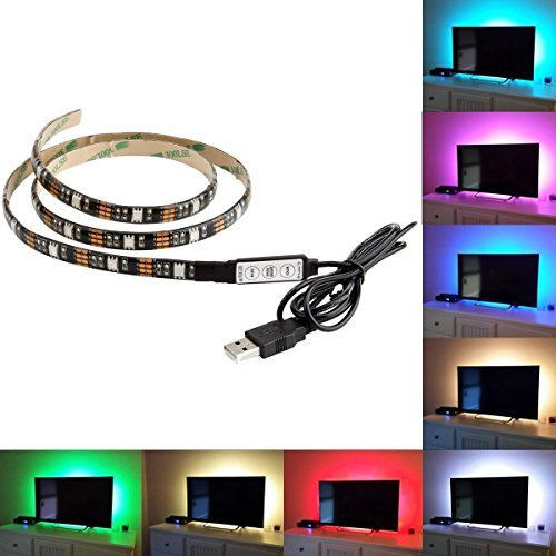 BMOUO USB LED Strip Light - 100CM(3.28Ft) Multi-color 30leds Flexible 5050 RGB USB LED Strip Light,TV Background Lighting Kit with 5v USB Cable And Mini Controller For TV/PC Background Lighting (Usb Blue Light Strip compare prices)