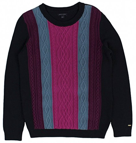 Tommy Hilfiger Womens Colorblocked Cable-Knit Sweater