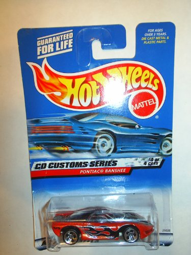 2000 - Mattel - Hot Wheels - CD Custom Series #4 of 4 - Pontiac Banshee (Orange Metalflake) Black Flames - Custom Car Designers Graphics - 5 Spot Sport Wheels - Clear Windows - Collector # 032 - New - Out of Production - Rare - Limited Edition - Collectible - 1