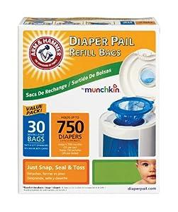 Munchkin Arm & Hammer Diaper Pail Refill Bags,  30-Count