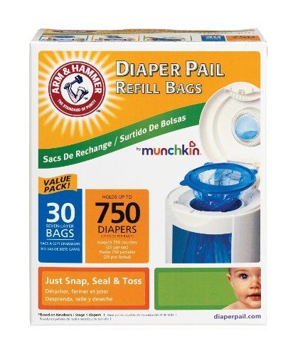 Munchkin Arm And Hammer Diaper Pail Refill Bags, 30 Count front-493397