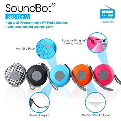 soundbot sb510fm fm radio water resistant bluetooth wireless 5w shower speaker handsfree portable w autoscan tuner 6hrs music streaming