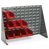"Louvered Panel Bench Rack - 27-1/2 X8x21"" - (24) 4-1/8 X7-3/8 X3"" Bins - Red - Gray"