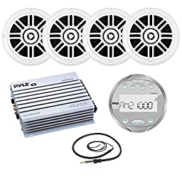 New Pyle PLMR91US Bluetooth guage Style Marine Boat Yacht AUX AM FM Round Stereo Radio 400W Boat Audio Amplifier W/ 6.5\