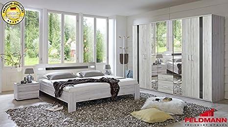 Schlafzimmer 490949 komplett 4-teilig weißeiche / grau Hochglanz