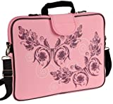 "15.6"" Laptop Sleeve in w/Handle & shoulder Strap in Pink Butterfly"