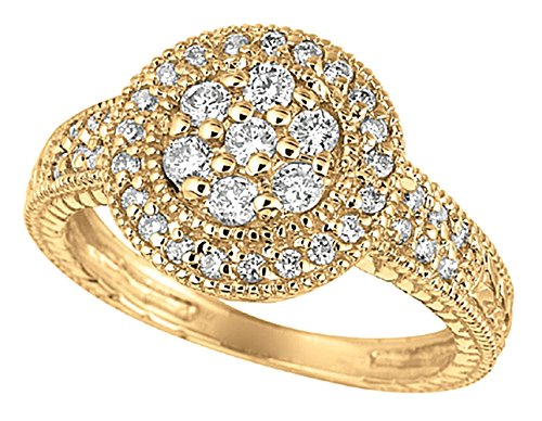 0.58 carat Round brilliant diamond wedding anniversary ring gold 14K new size C