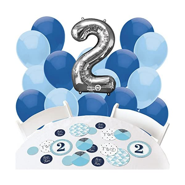 Two Much Fun Boy Confetti And Balloon 2nd Birthday Party Decorations Combo Kit